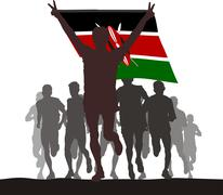 Winner with the Kenya flag at the finish Stock Illustration