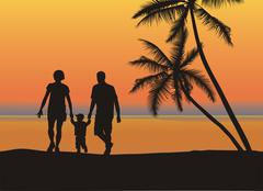 Young family on the beach Stock Illustration