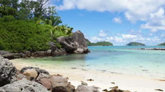 Tropical coast of mahe island seychelles Stock Footage