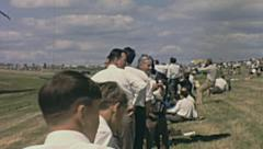 England 1970s: spectators during an air show Stock Footage