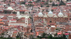 Stock Video Footage of Static shot over old town of Cuenca colonial city in Ecuador