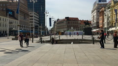 Ban Jelacic Square in Zagreb, Croatia Stock Footage