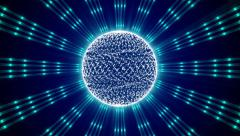 blue  abstract background, kaleidoscope light and sphere, loop - stock footage