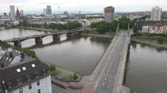 ULTRA HD 4K Aerial view traffic street Frankfurt cityscape landmark travel trip Stock Footage