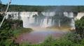 Waterfall. Foz do Iguazu, Brazil. World Famous Iguazu Falls. Rainbow HD Footage
