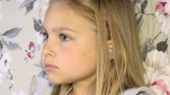 Close-up of little girl  watching TV 4K Stock Footage