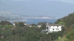 Zoom Out California Coast Ocean View Hills Santa Barbara Stock Footage