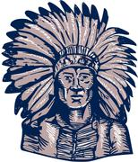 Native American Indian Chief Warrior Etching Stock Illustration