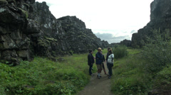 Friends Visit the Thingvellir National Park Stock Footage