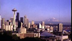SEATTLE Panorama Time-lapse Cityscape 1980s Vintage Retro Film Home Movie 8325 Stock Footage