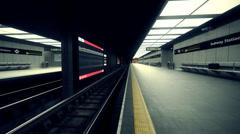 Subway Train At Station. Metro Empty Underground Stock Footage