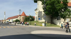 Group of children walking down from Kaptol Stock Footage