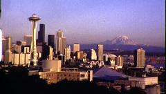 SEATTLE Panorama Time-lapse Cityscape 1980s Vintage Retro Film Home Movie 8326 - stock footage