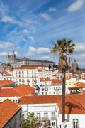 Lisbon rooftop from Portas do sol viewpoint - Miradouro in Portugal Stock Photos