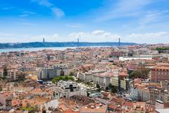 Aerial view of Lisbon rooftop from Senhora do Monte viewpoint (Miradouro)  in Stock Photos