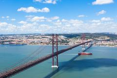 25 de Abril (April) Bridge in Lisbon - Portugal - stock photo