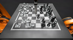 Robots Playing Chess Stock Footage