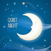 Cartoon sleeping moon - stock illustration