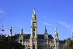 building of town hall in Vienna - Rathaus, built in gothic style - stock photo