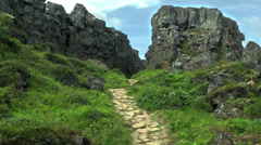 Ancient Path in the Thingvellir National Park Stock Footage