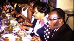 Family Reunion Dinner Black African American 1970s Vintage Film Home Movie 8334 Stock Footage