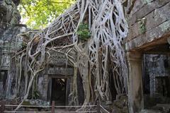Temple Ruins Near Angkor Wat In Cambodia - stock photo