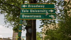 New Haven Yale University & Downtown Sign, York Street Stock Footage