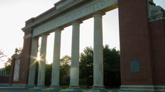 Walter Camp Gate, entrance to Yale Bowl Football New Haven, CT Stock Footage