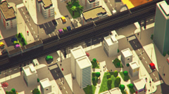 Aerial View Of Cityscape. Electic Car Charging - stock footage