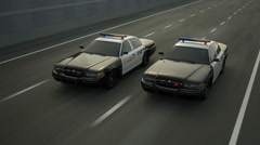 Police Cars In Speed. Chase Stock Footage