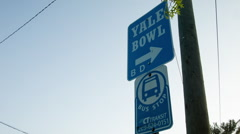 Yale Bowl street sign, football, New Haven, CT Stock Footage