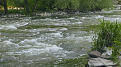 mountain river with rough water, slow motion - stock footage