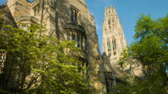 New Haven Yale University buildings and trees Stock Footage