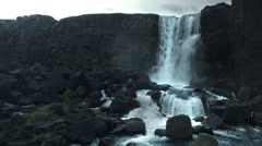 Oxararfoss Waterfall in the Thingvellir National Park  ICELAND Stock Footage