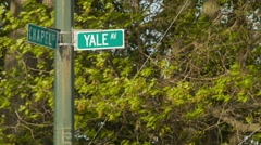 Yale Avenue and Chapel Street intersection, New Haven, CT Stock Footage