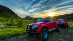 4K TimeLapse - Off-road vehicle in the sunset in the valley Thorsmork Stock Footage