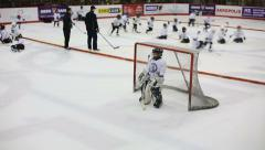 LITHUANIA, VILNIUS - MAY 2015: Hockey Goalkeeper pass the puck Stock Footage