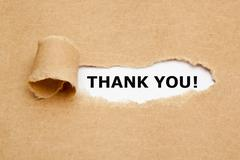 Thank You Torn Paper - stock photo