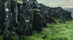 Black Basalt of the Thingvellir National Park  ICELAND Stock Footage