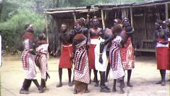 African Maasai Tribe Jumping Dance Vintage Film Retro Film Home Movie 8360 - stock footage