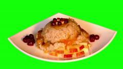 4k dessert of porridge, jam, chopped apples, berries Stock Footage