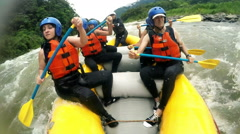 Rough rafting experience on high level rated river, speed ramping shot - stock footage