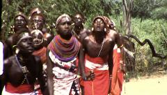 African Maasai Tribe Jumping Dance Vintage Film Retro Film Home Movie 8362 - stock footage