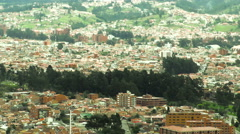 Pan over historic center of colonial city of Cuenca in Ecuador Stock Footage