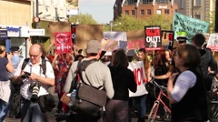 Stock Video Footage of Anti Tory Government Protest - Chants & March HD