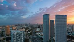 Time Lapse - Azrieli Sunrise - tilt down - stock footage