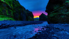 4K TimeLapse - Sunset on the river in the valley Thorsmork Stock Footage