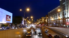 Night view to Garden ring from Triumfalnaya square. Stock Footage