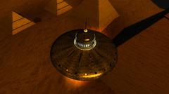 UFO Lands near Great Pyramid Stock Footage