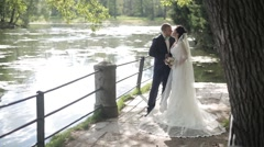 Wedding Couple on the Nature - stock footage